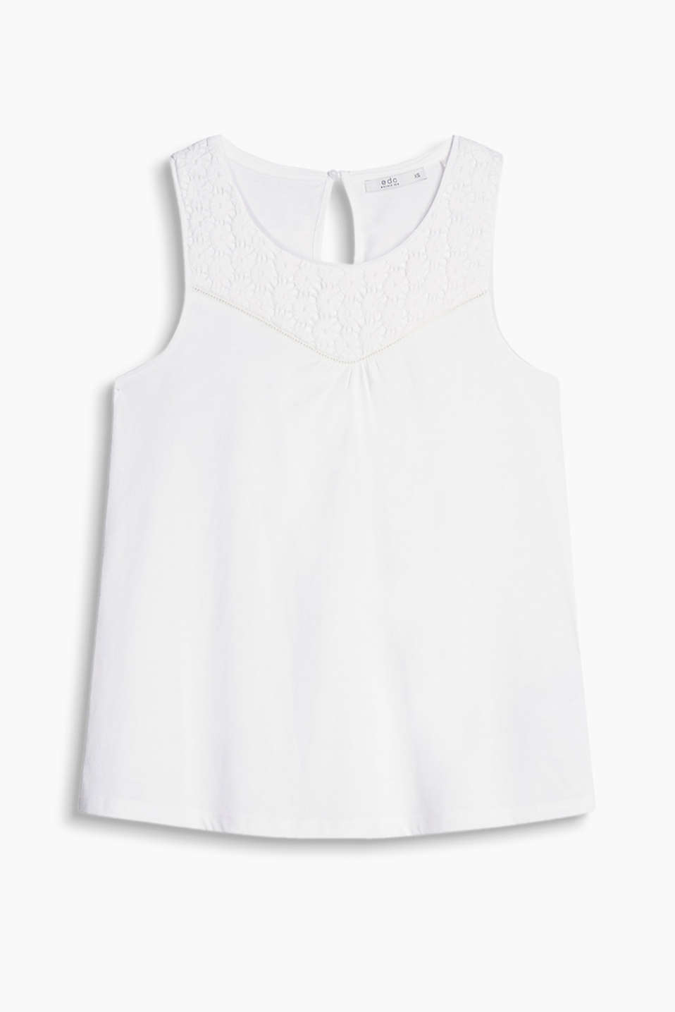 Flared jersey top with a lace panel, 100% cotton