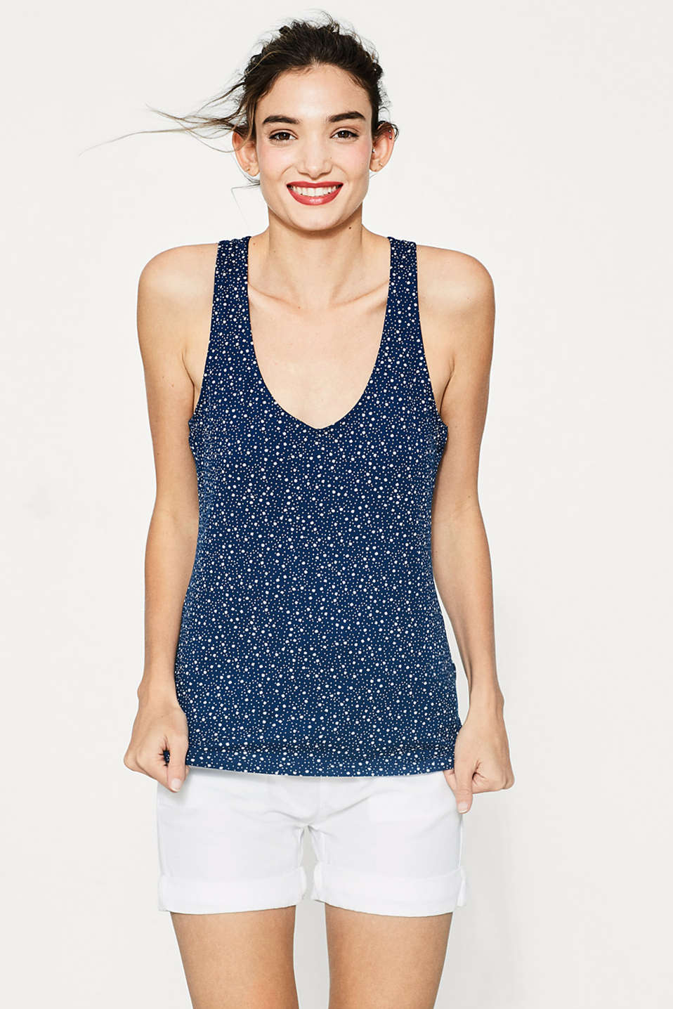 Cotton blend print sleeveless top