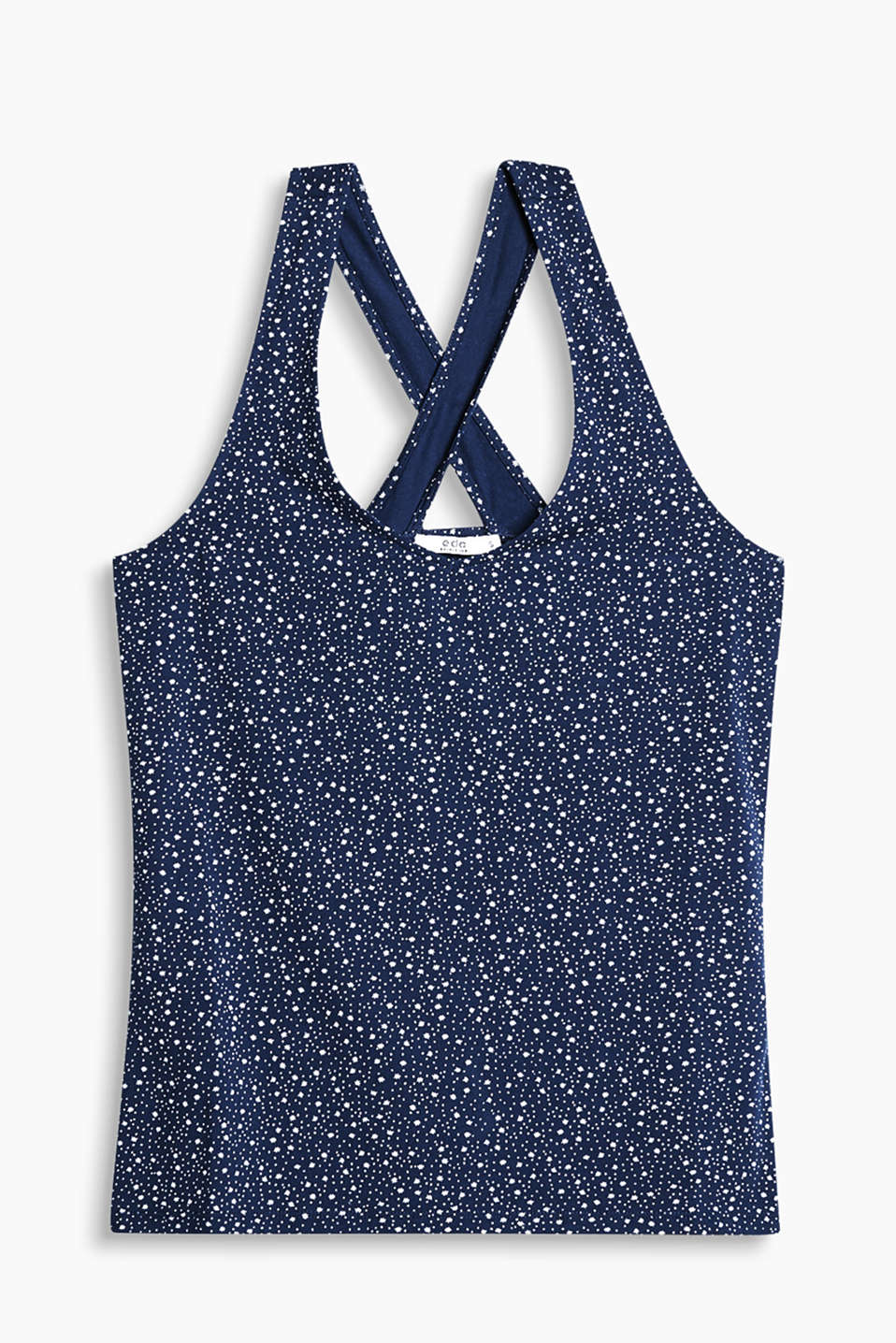 Sleeveless top with a minimalist print and cross-over straps