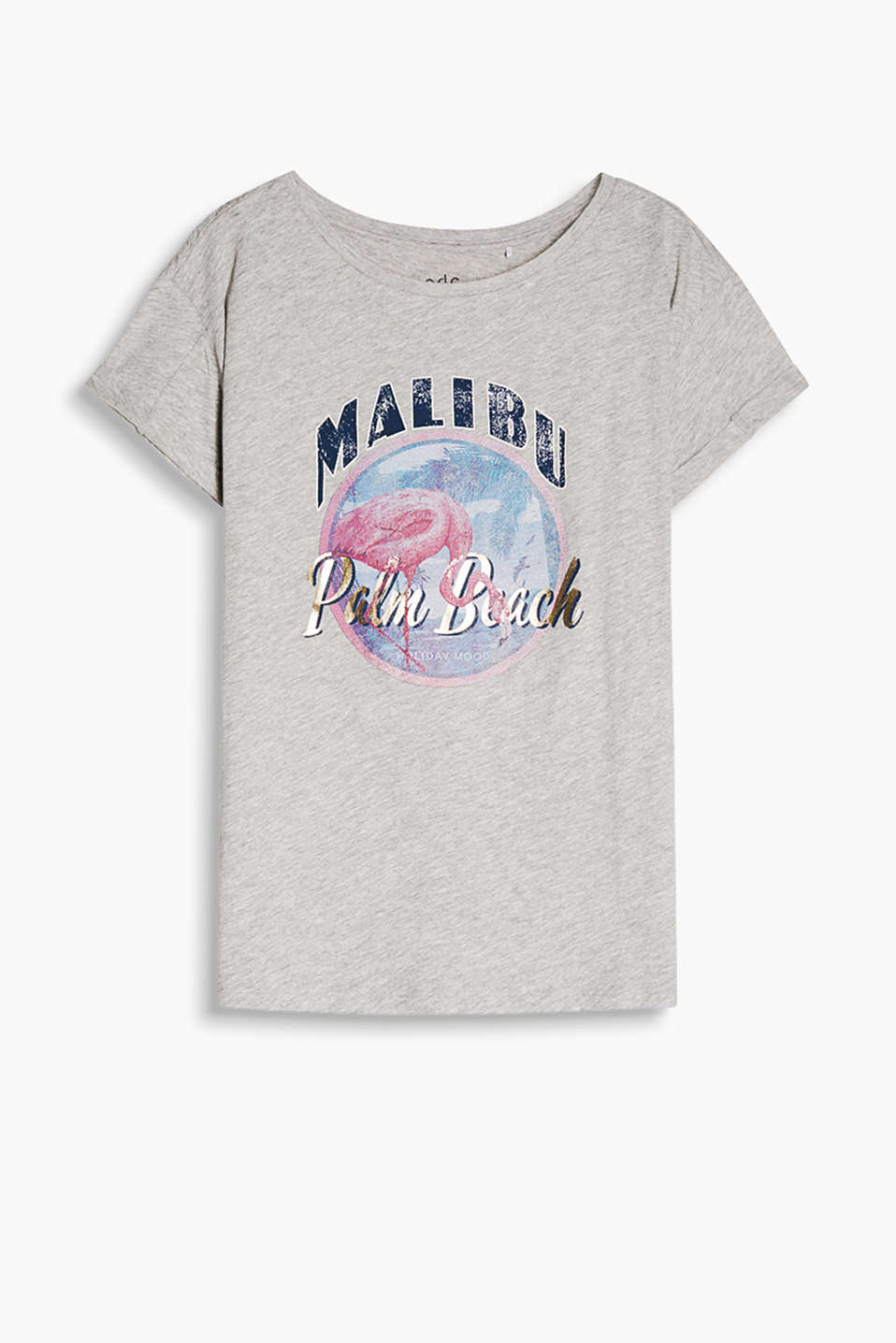 Summer Vibes! Grey melange T-shirt with a shiny print and ultra soft finish