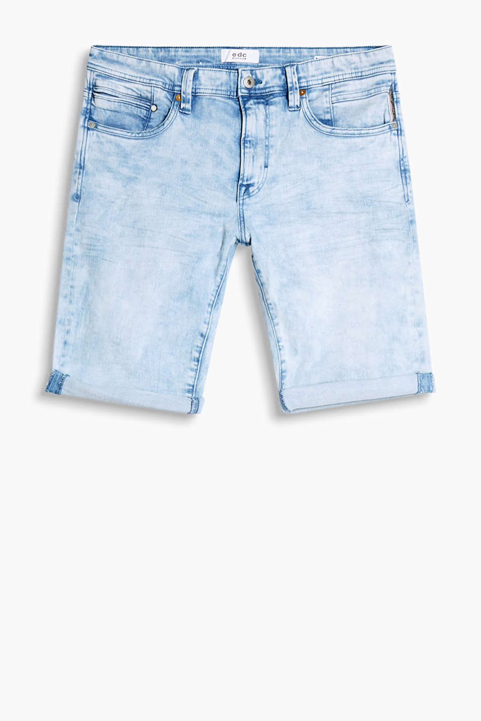 Bleached Bermudas in stretch denim with bold wrinkled effects