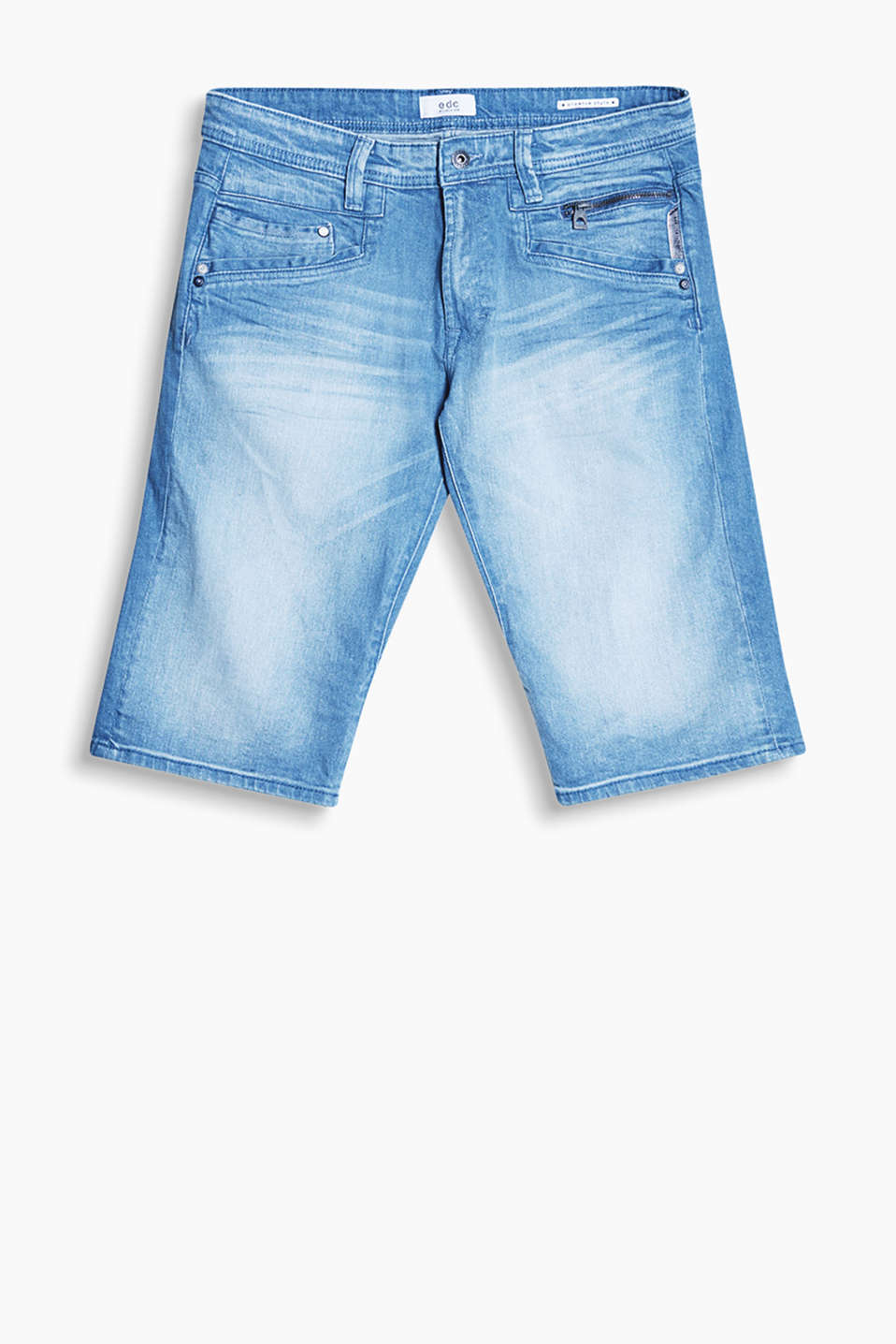 Denim five-pocket style shorts with stylish washed effects
