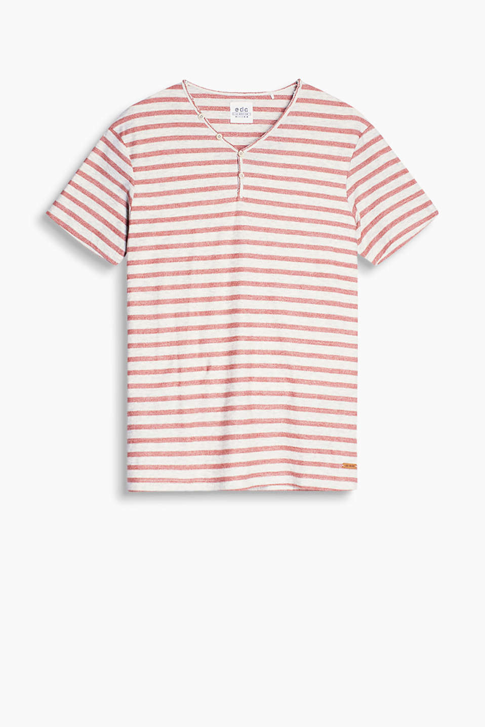 Henley-style T-shirt in a soft fabric blend with a very high percentage of cotton