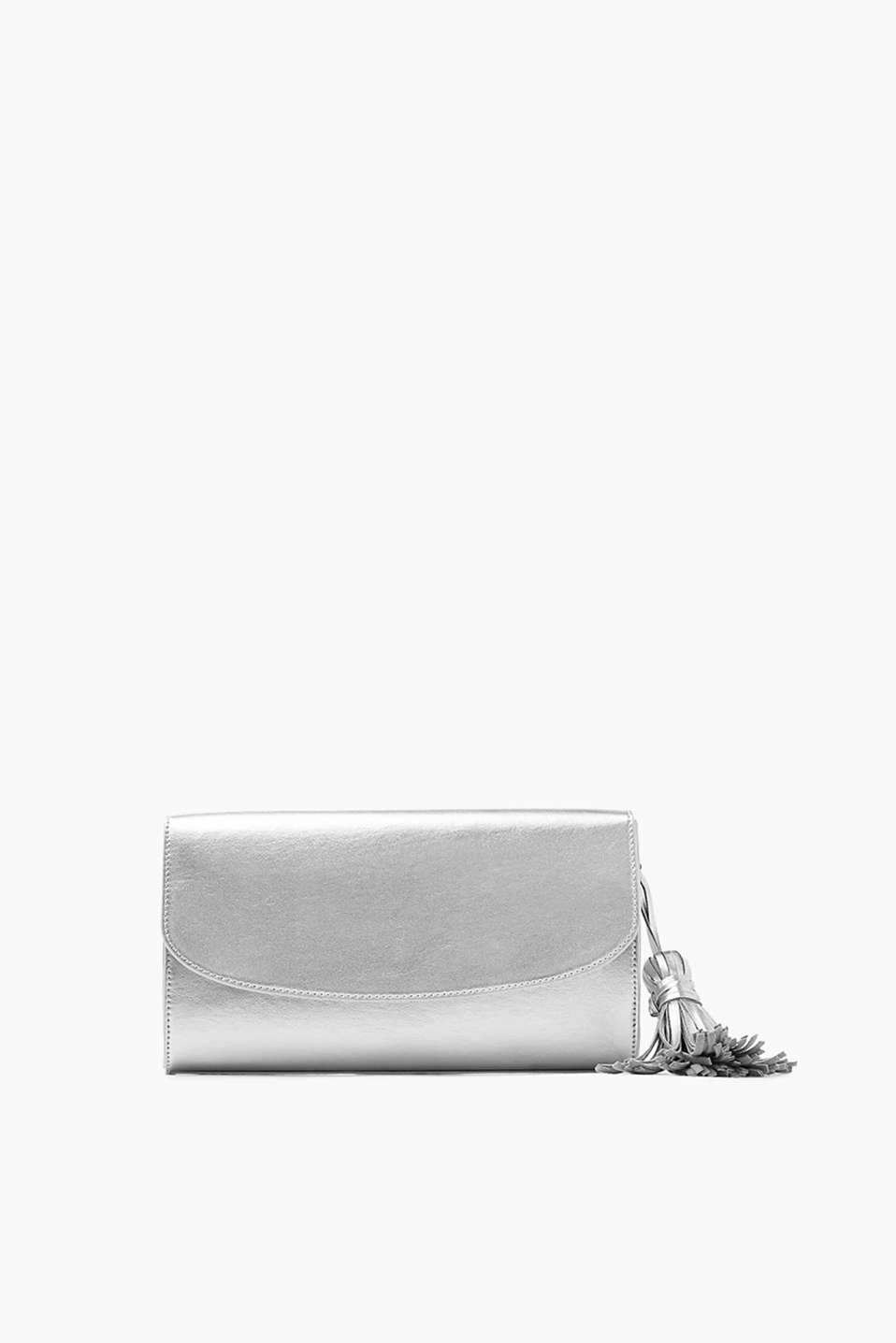 Clutch bag in shimmery smooth faux leather with a distinctive tassel detail