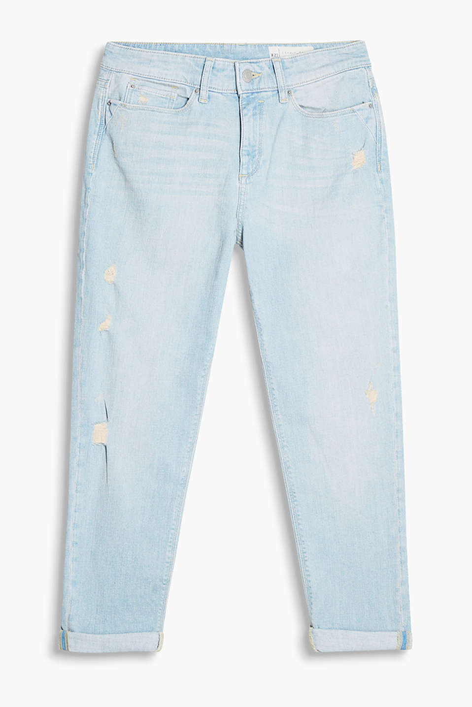 Vintage-style boyfriend jeans with stretch for comfort in a pale summery wash