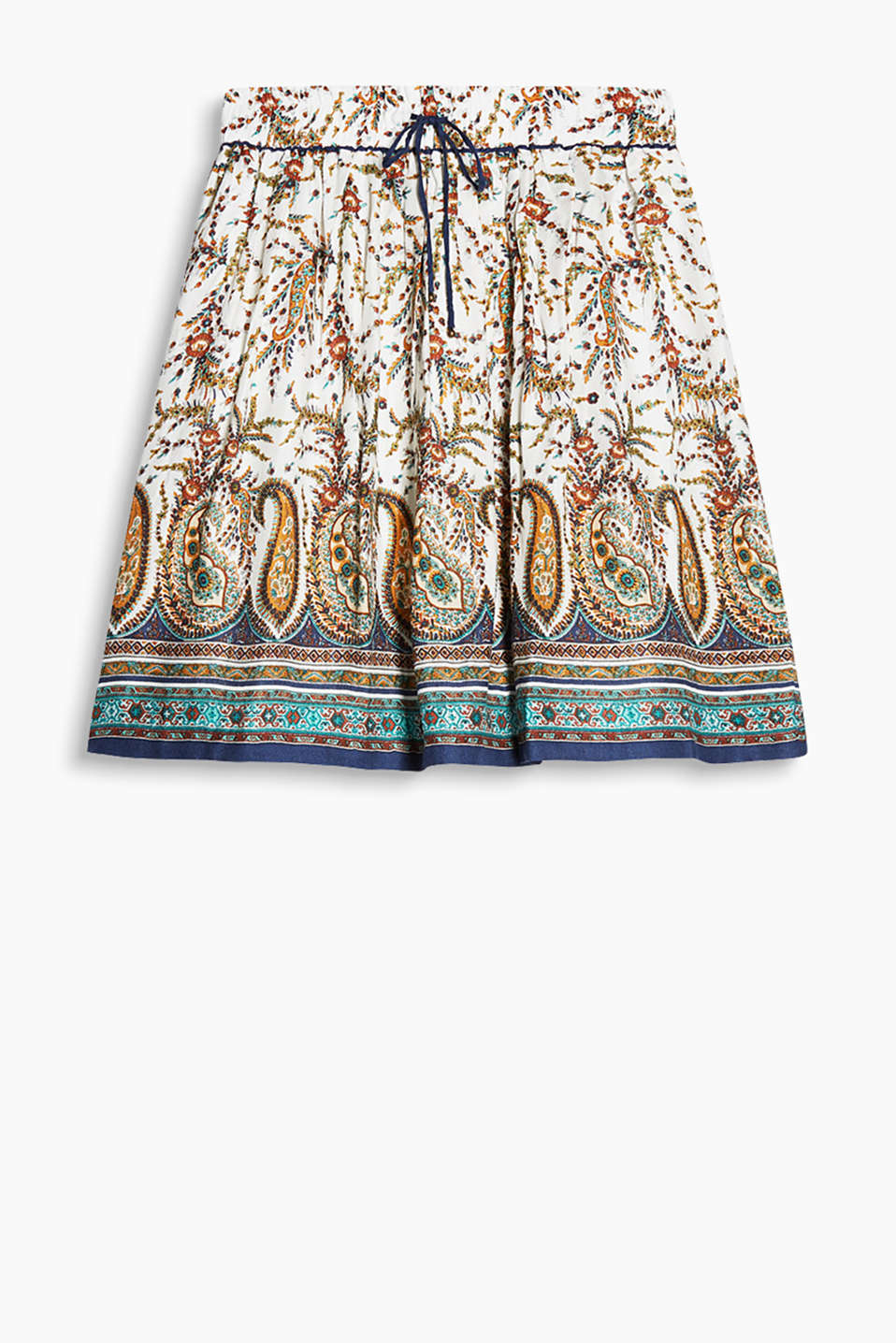 Flowing skirt in a swirling design with a paisley pattern and an elasticated waistband