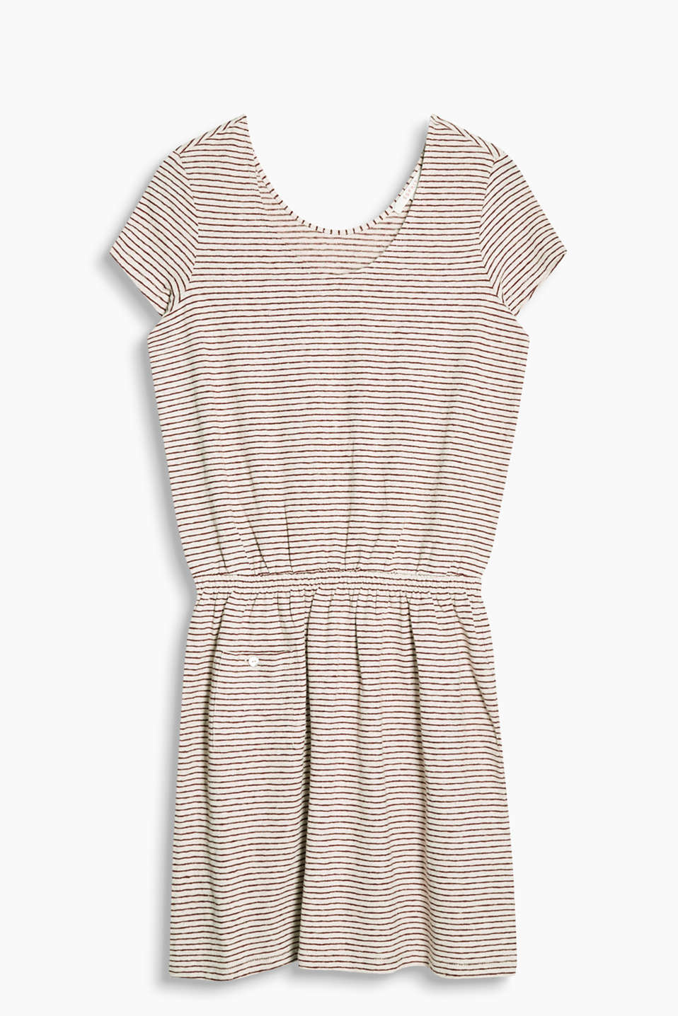 Made of airy blended linen: jersey dress with all-over stripes, an elasticated waistband and patch pocket