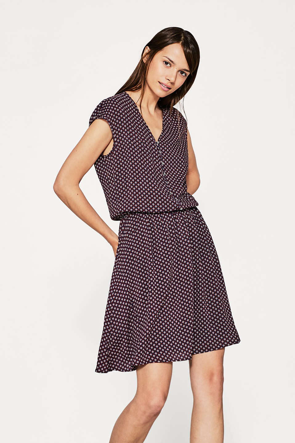 Esprit - Flowing print dress with button placket