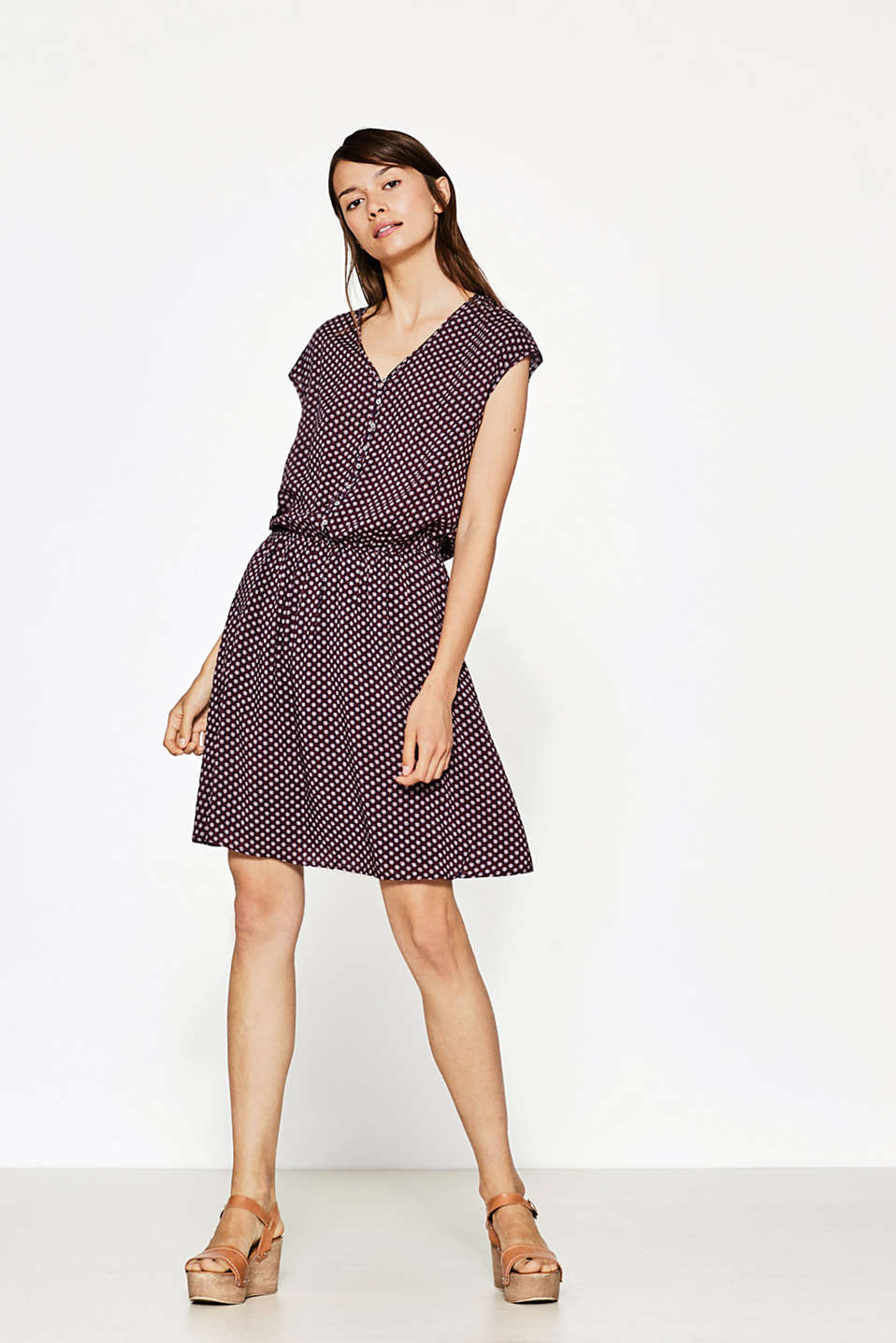 Flowing print dress with button placket