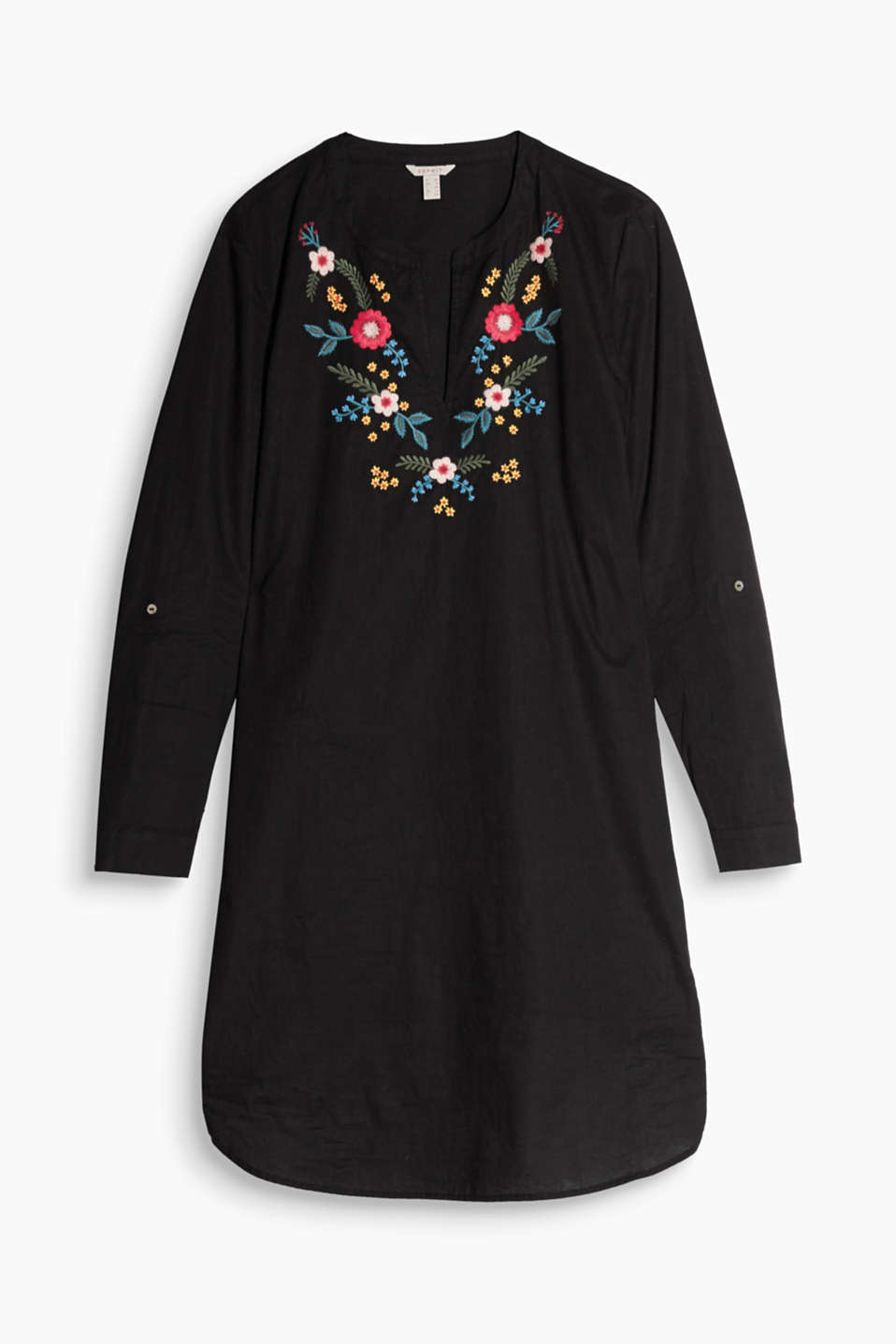 With floral embroidery and flexible sleeve length: tunic dress in cotton voile