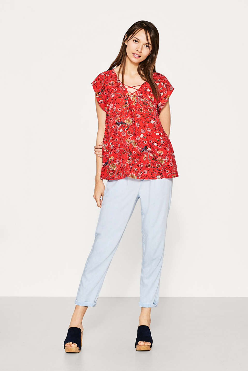 Esprit - Flowing printed blouse with lacing