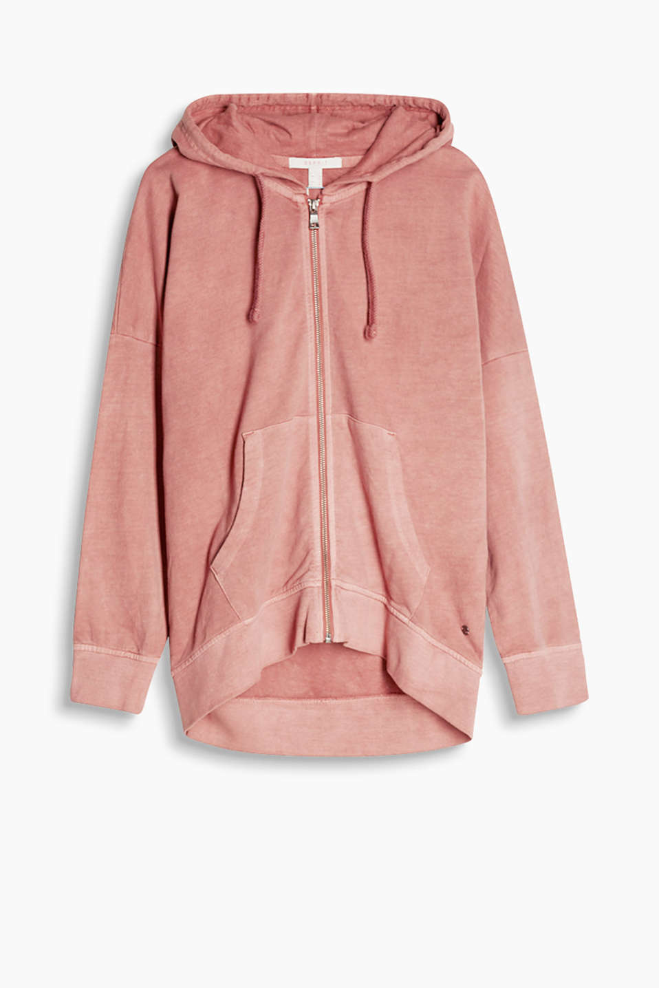 Oversized Sweat-Cardigan in gewaschenem Look mit High-Low-Saum, 100% Baumwolle
