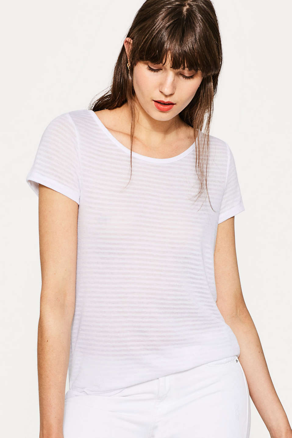 Esprit - Soft striped tee with a decorative back