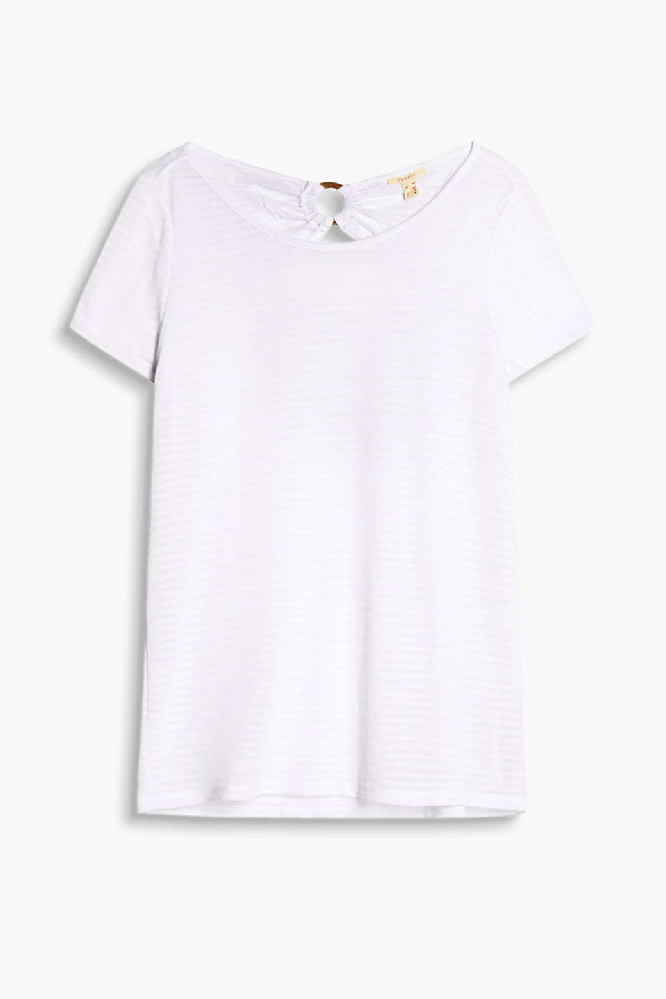 Soft, striped T-shirt with a decorative ring and cut-out at the back