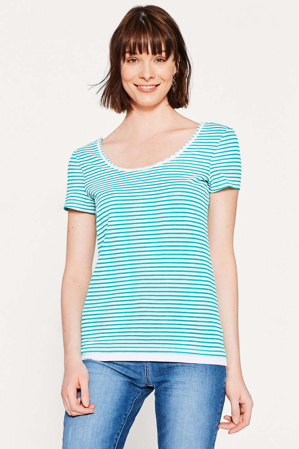 Striped T-shirt with layering, 100% cotton