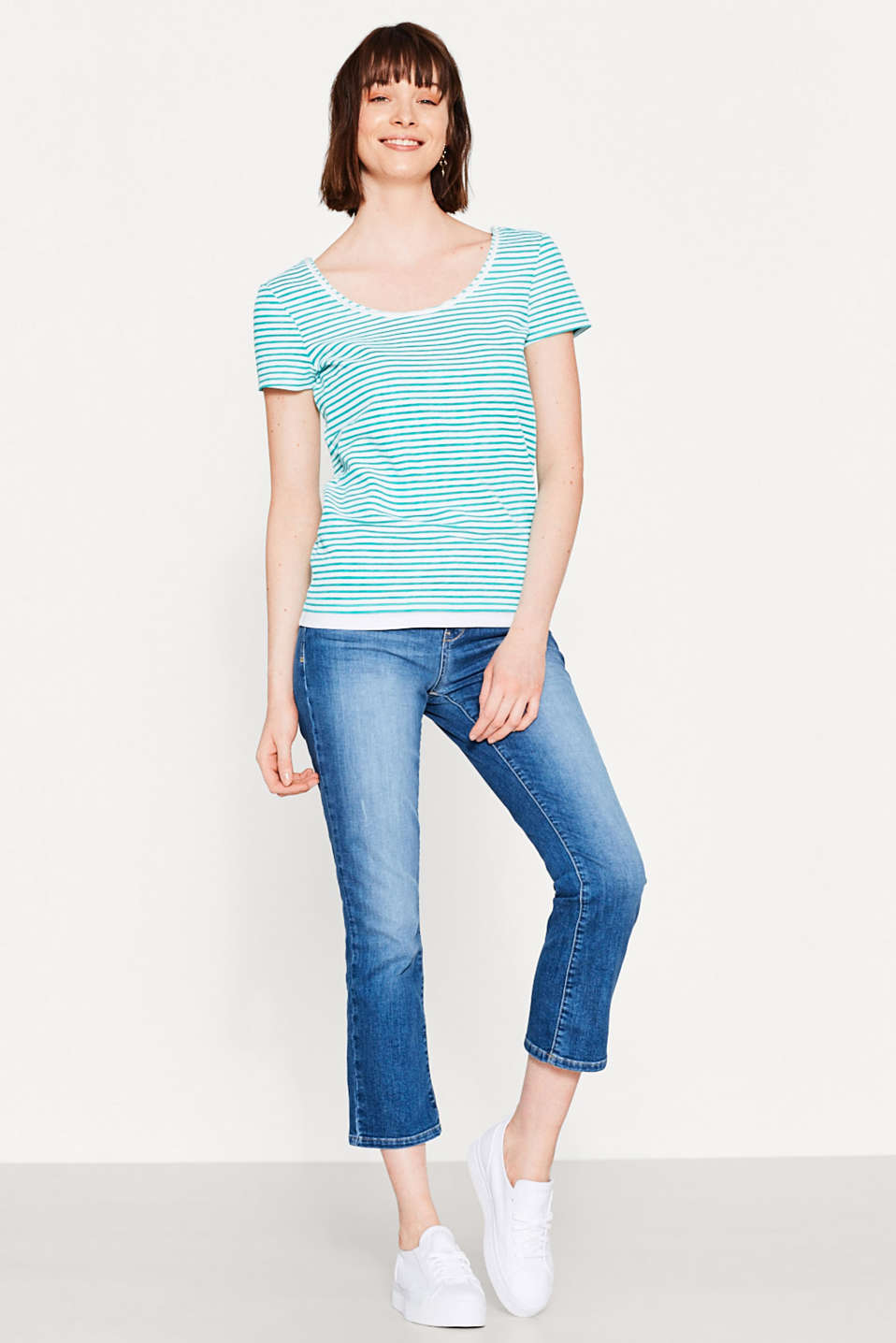 Esprit - Striped T-shirt with layering, 100% cotton