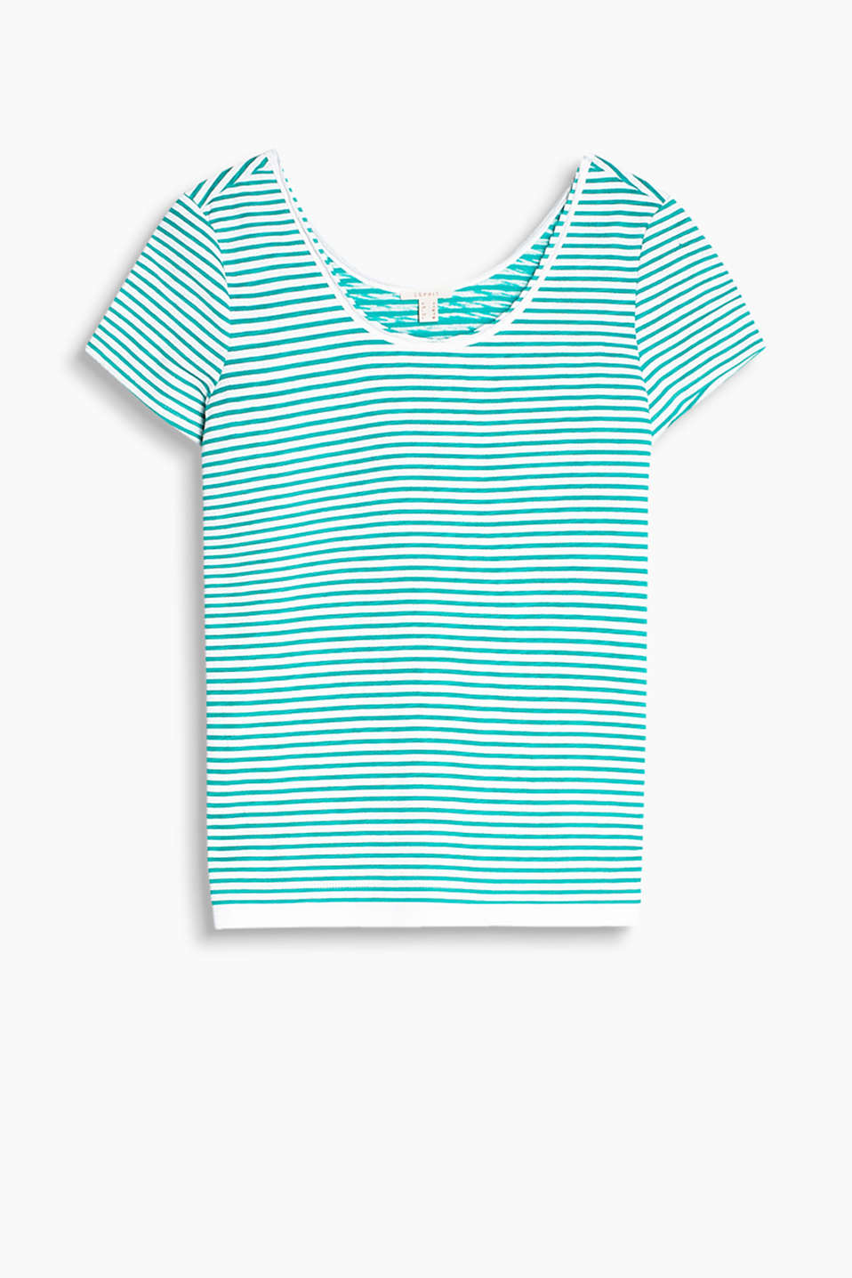 Textured striped T-shirt with an unfinished neckline and a layer hem, 100% cotton