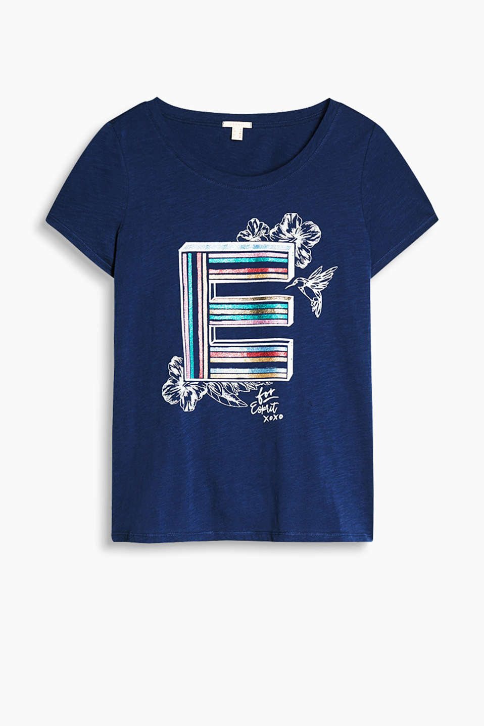 Airy slub jersey T-shirt with a colourful glitter print, 100% cotton