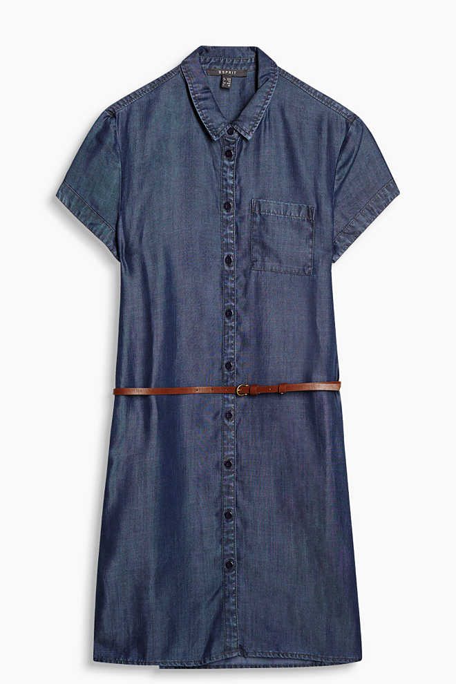 Hemdblusen-Kleid in Denim-Optik