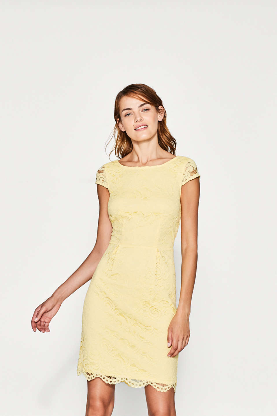 Esprit - Elegant lace dress with cap sleeves