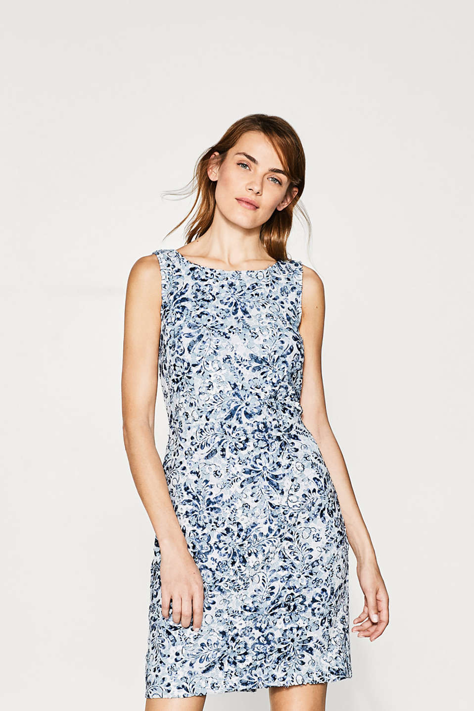 Esprit - Fitted dress in printed lace