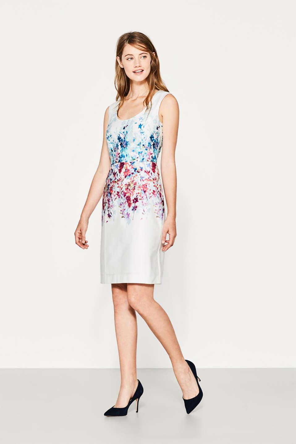 Stretch kleid mit aquarell blumen