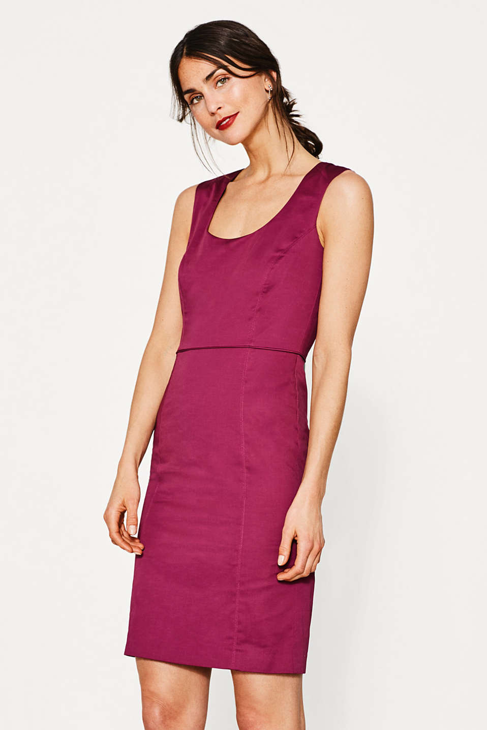 Sheath dress in cotton/stretch