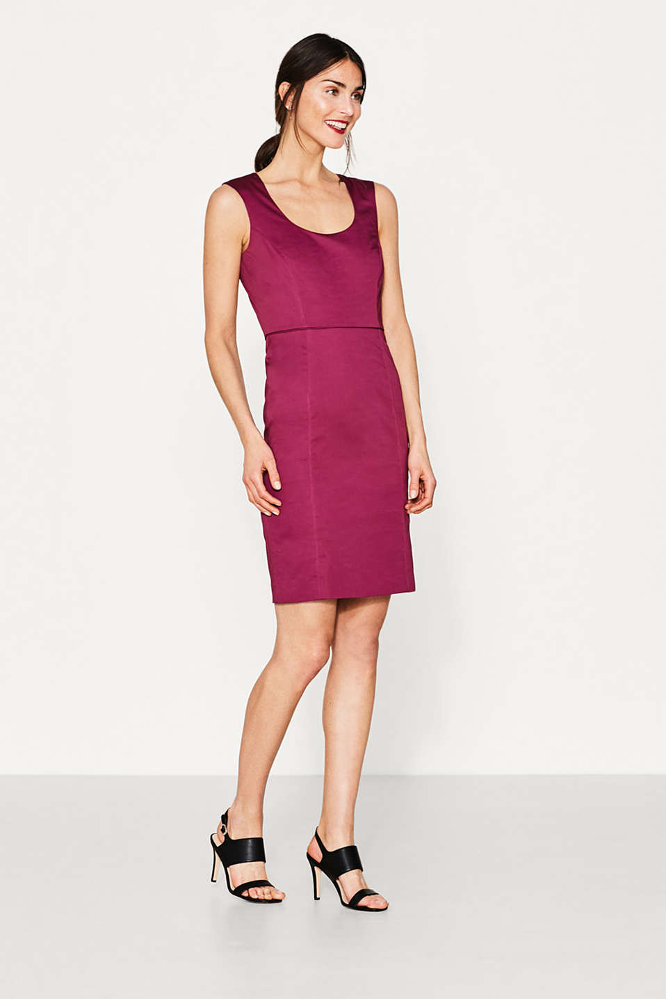 Esprit - Sheath dress in cotton/stretch