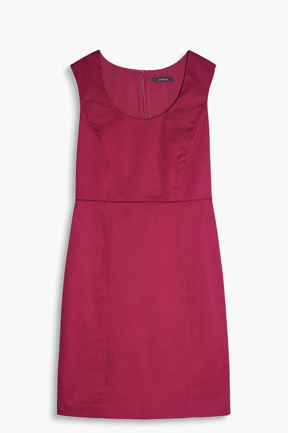 Sheath dress with a piped waist in cotton/stretch