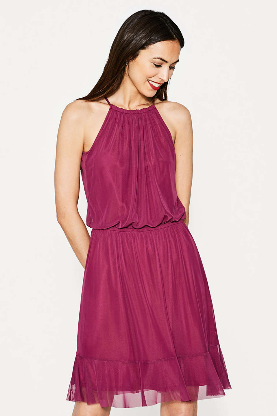 Esprit - Feminine mesh dress with hem flounce