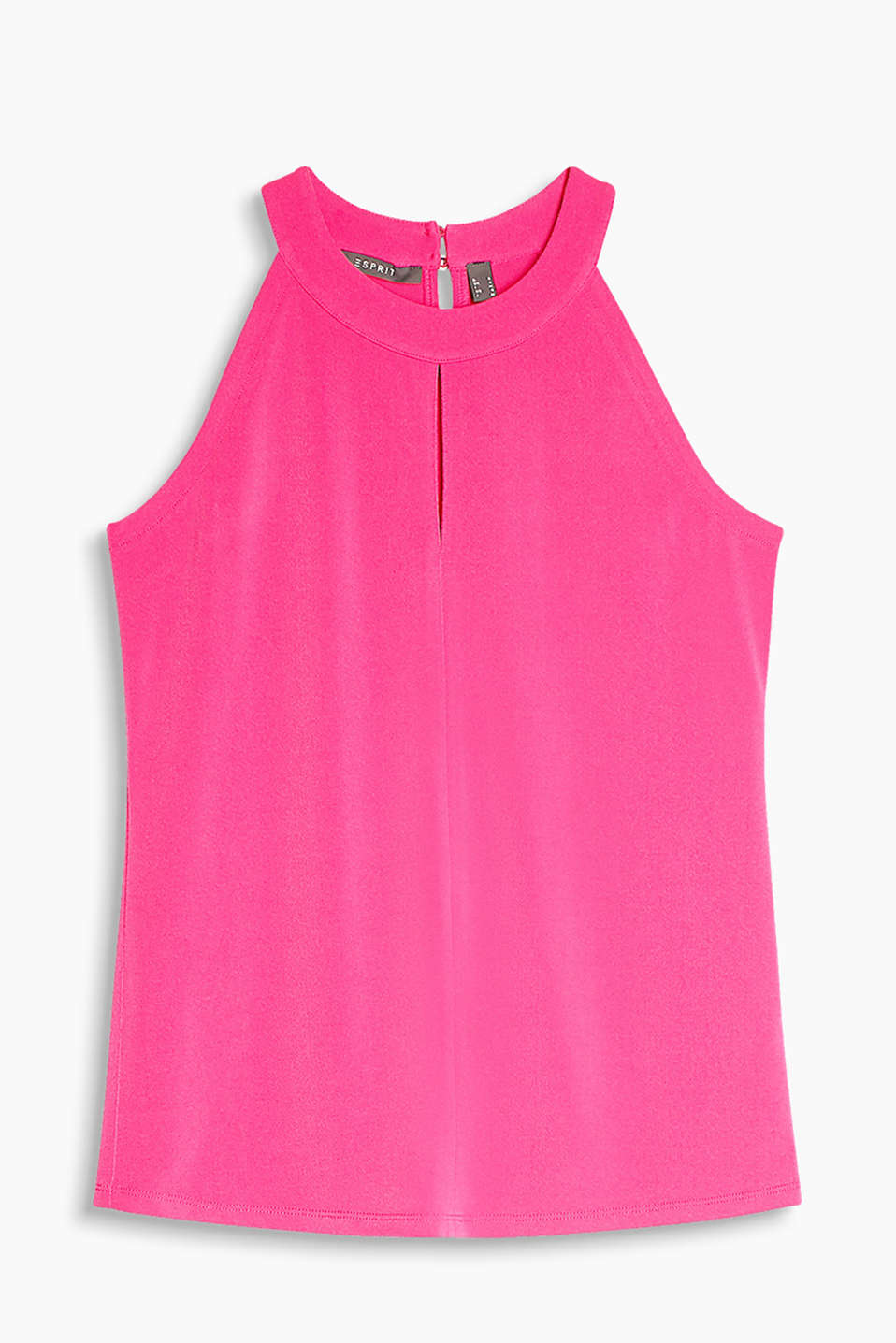 Feminine and stylish, stretch jersey halterneck top with cut-away shoulders
