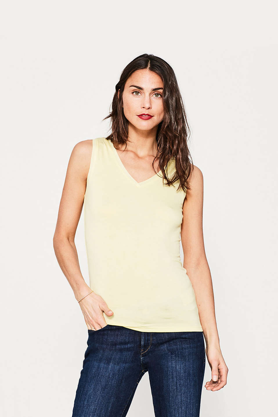 Fließendes Jersey-Top mit Double-V-Neck