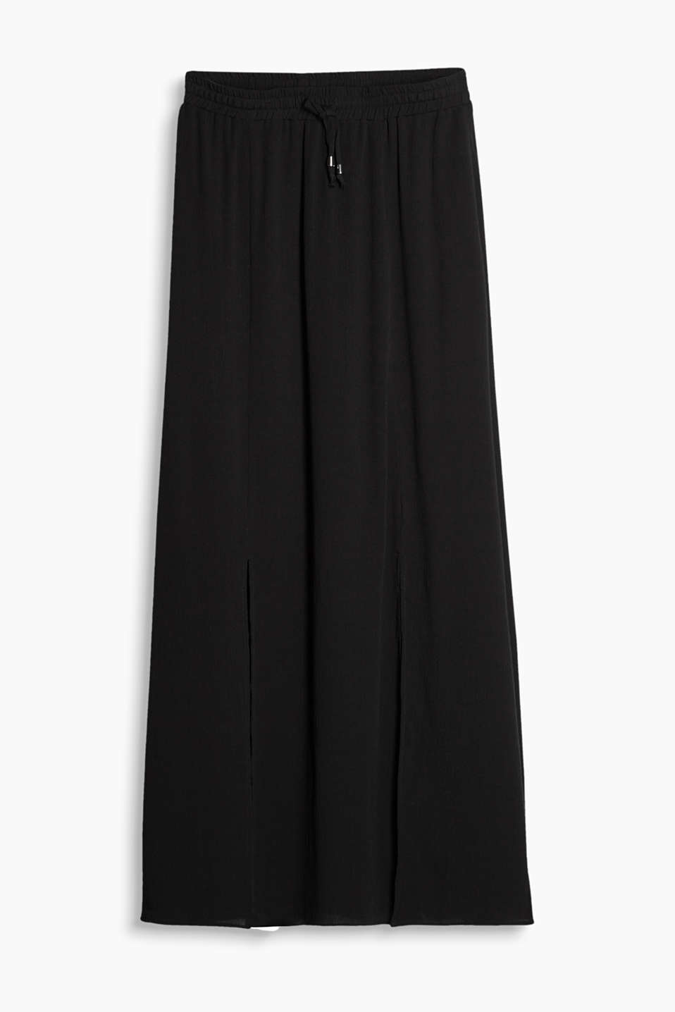 Slit maxi skirt with an elasticated waistband and a subtle crinkle texture