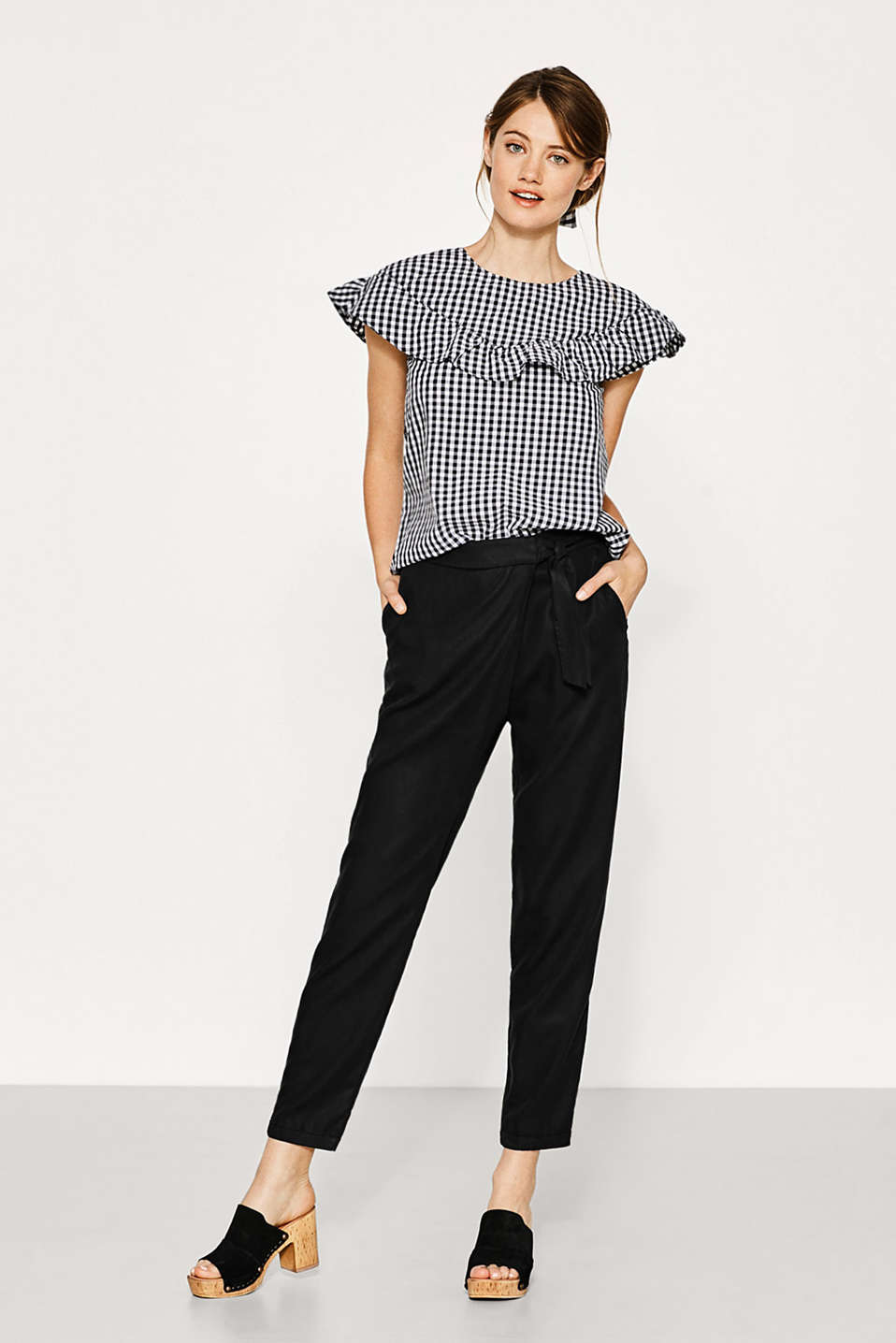Gingham check blouse in 100% cotton