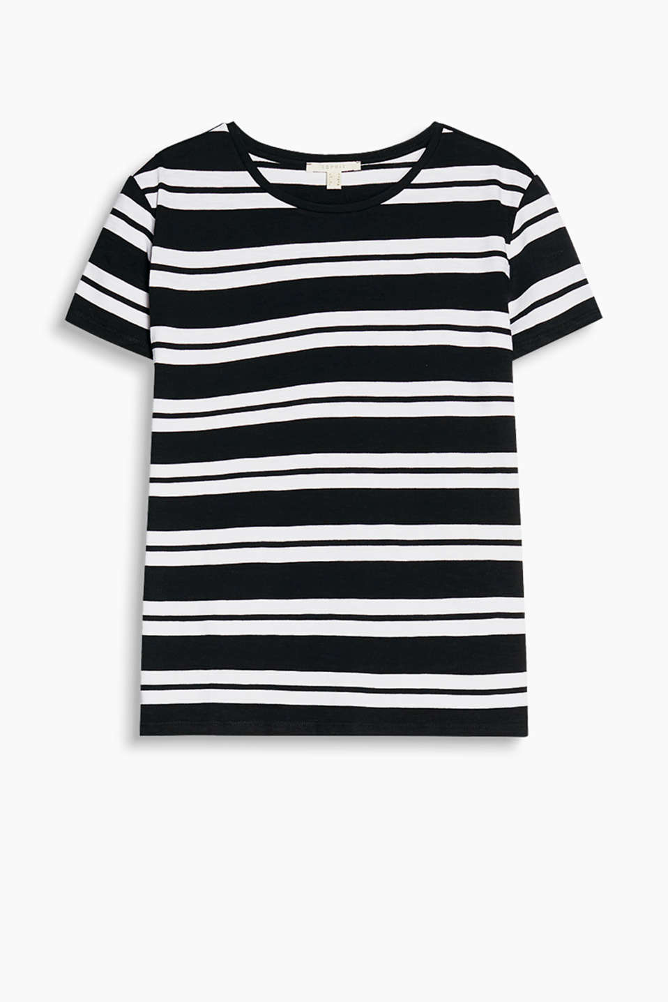 Striped slub jersey T-shirt with small decorative faux leather buttons