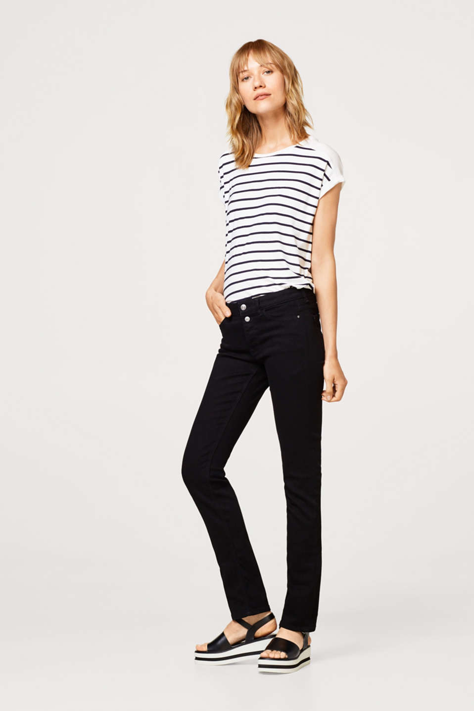 Stretch jeans with a two-button waistband