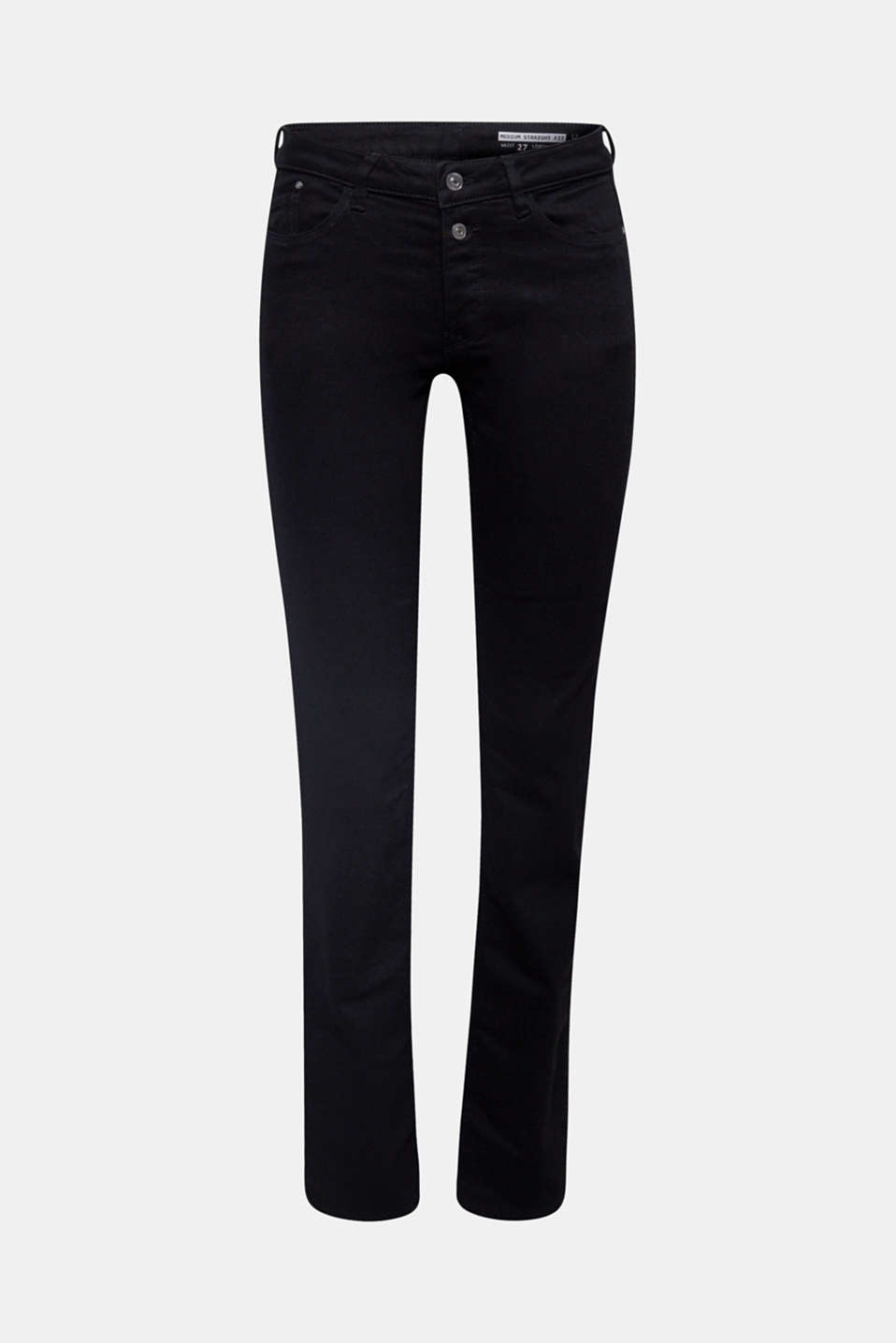 Everything works with these super trendy basic jeans: bold stretch denim in a timeless style with double buttons and a straight fit.