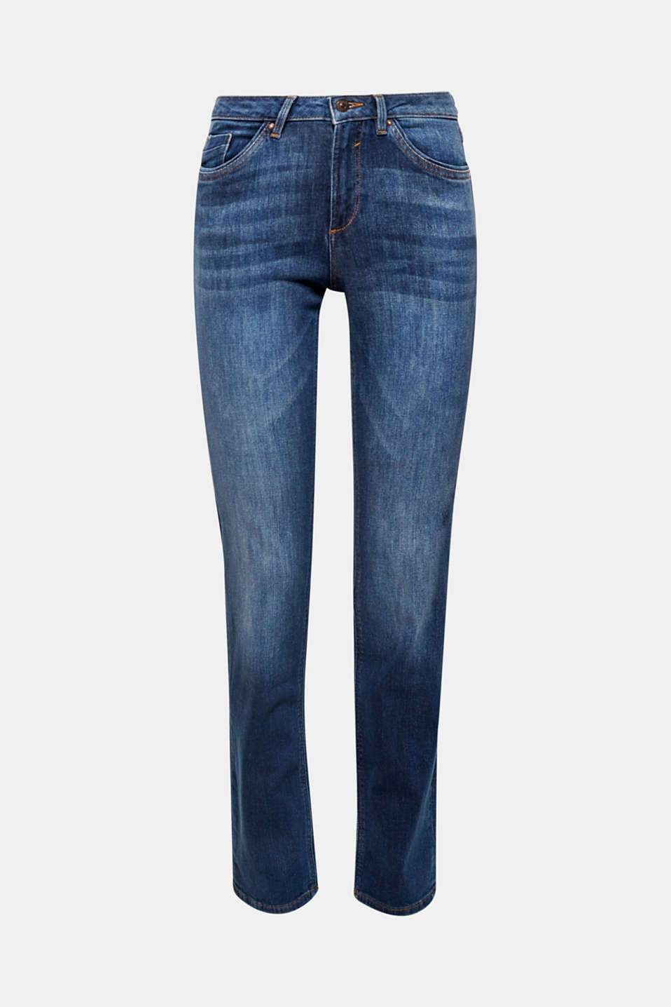 The button-fastening flap pockets on the back give these stretch jeans with a modern garment wash their wow look!