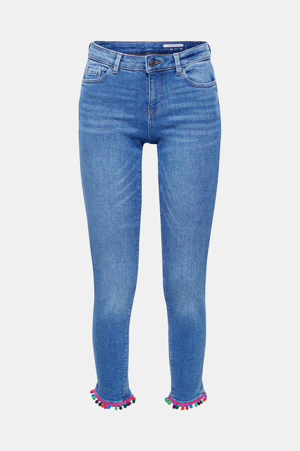 Colourful mini pompoms on the leg hems give these stretch jeans their summery festival flair!