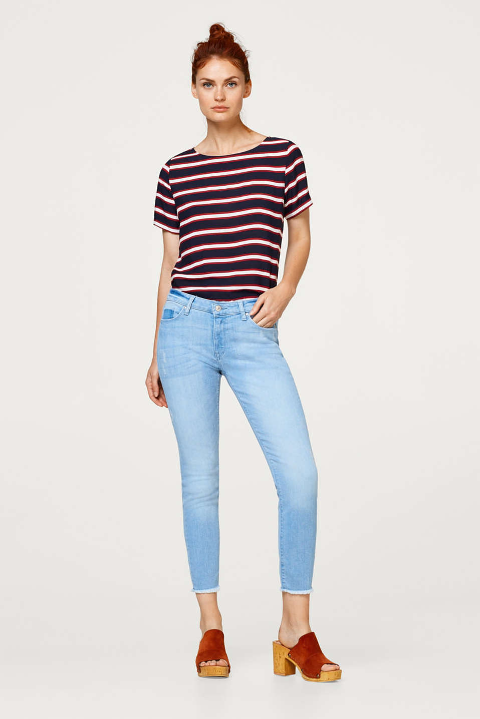 edc - Cropped stretch jeans with washed effects