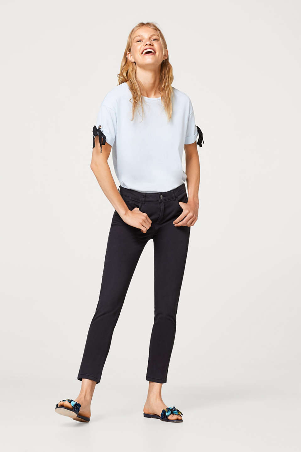 Cropped stretch trousers in cotton