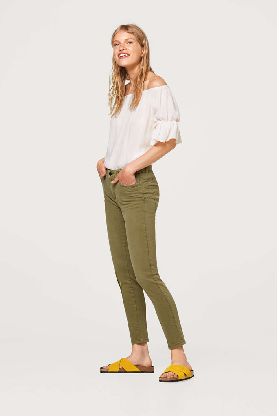 edc - Cropped stretch trousers in cotton