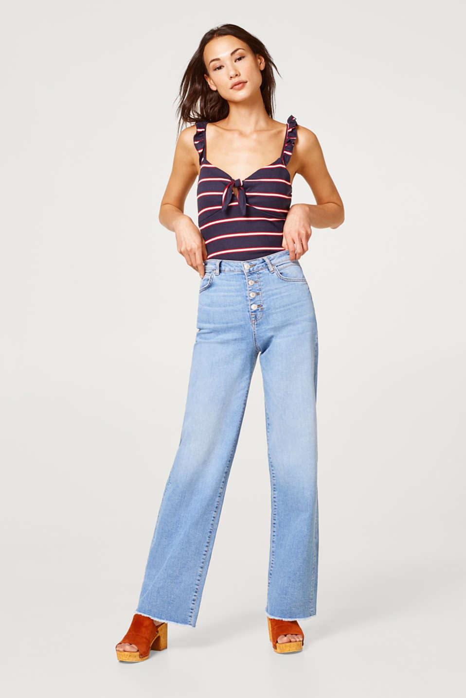 edc - High-waisted wide stretch jeans