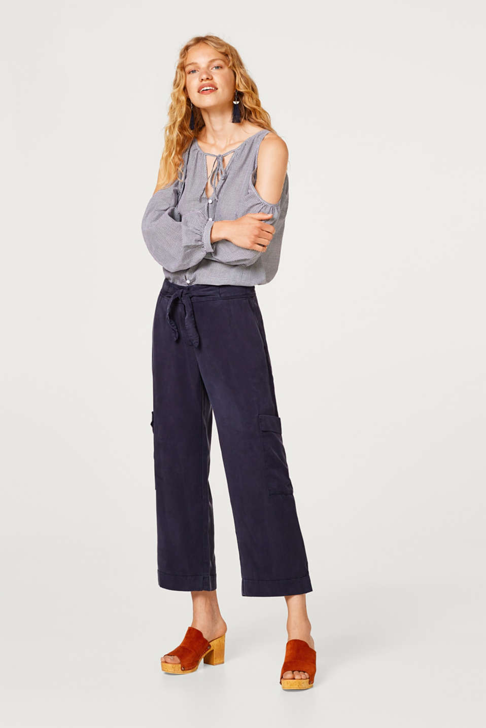 edc - Cropped lyocell trousers in a cargo style