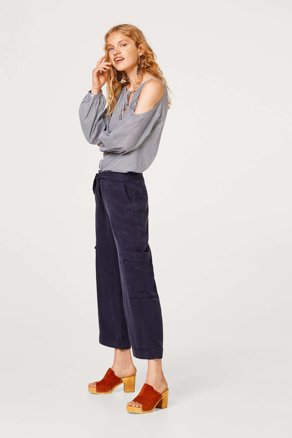 Cropped lyocell trousers in a cargo style