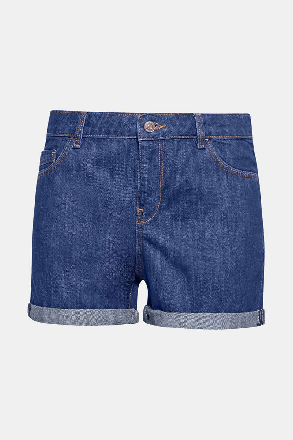 Dein Must-Have-Essential für coole Sommer-Looks! Bequeme Denim Shorts aus reiner Baumwolle mit variablen Roll-up-Säumen.
