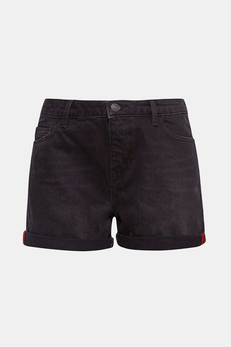 An indispensable summer basic: black cotton denim shorts with versatile, roll-up hems.