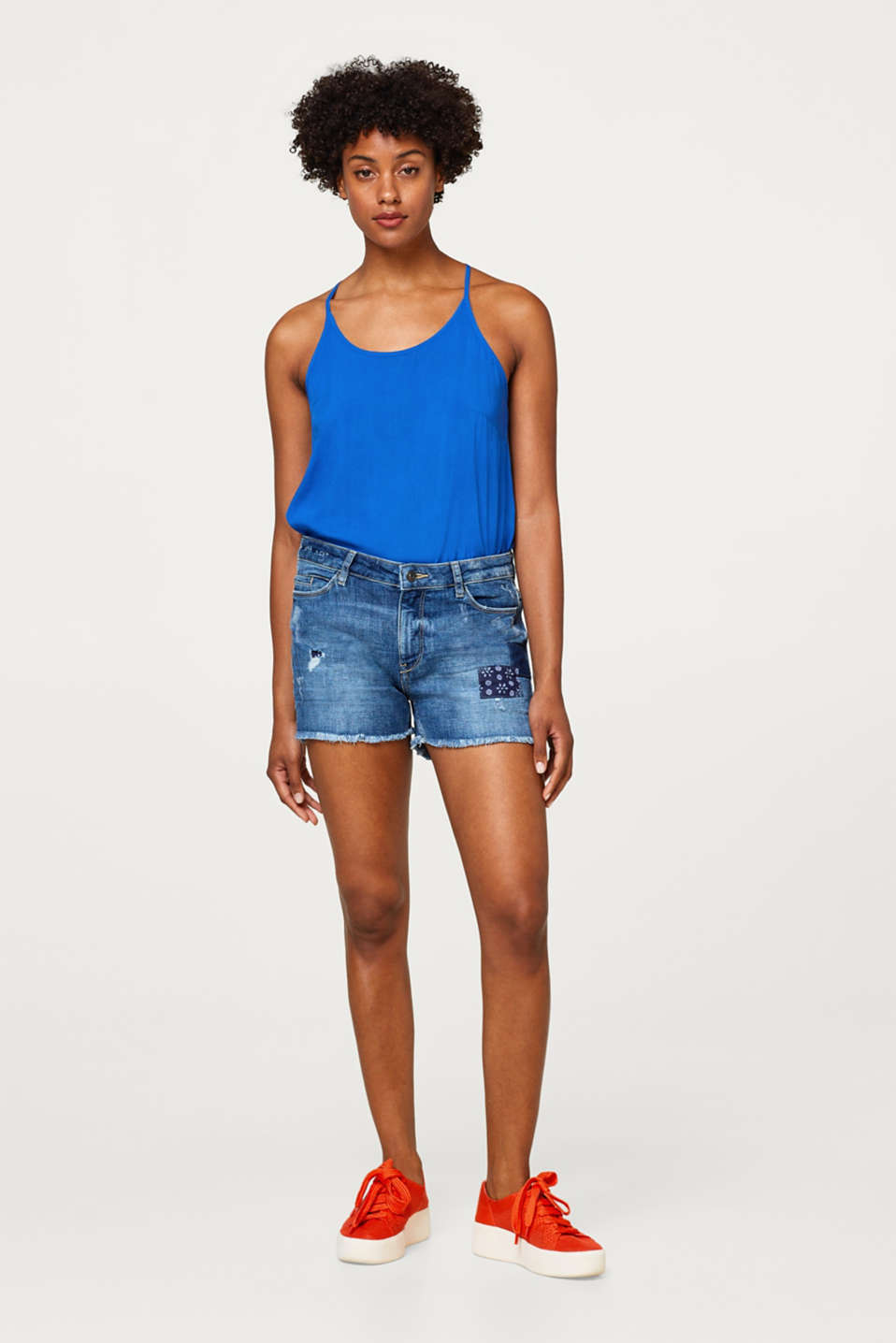 Patchwork denim shorts with recycled cotton
