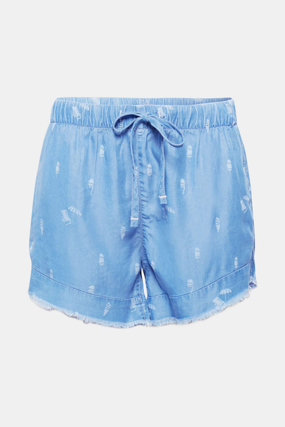 The loose silhouette, ultra soft faux denim composed of lyocell and the summery print motifs make these shorts a favourite piece for warm days