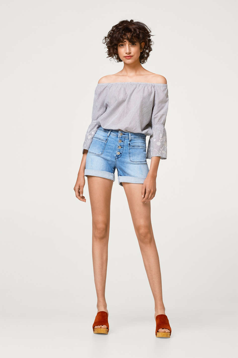 edc - Stretch denim shorts with a button placket